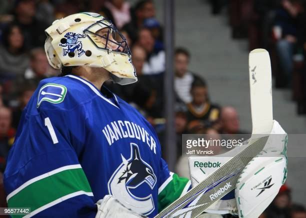 Roberto Luongo of the Vancouver Canucks looks on from his crease during their game against the Nashville Predators at General Motors Place on...
