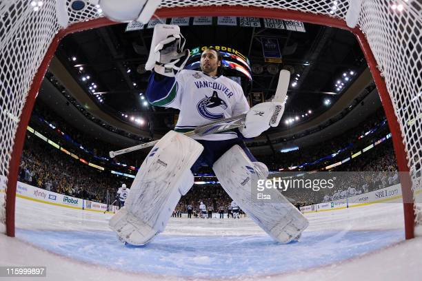 Roberto Luongo of the Vancouver Canucks looks on prior to the start of Game Six against the Boston Bruins in the 2011 NHL Stanley Cup Final at TD...
