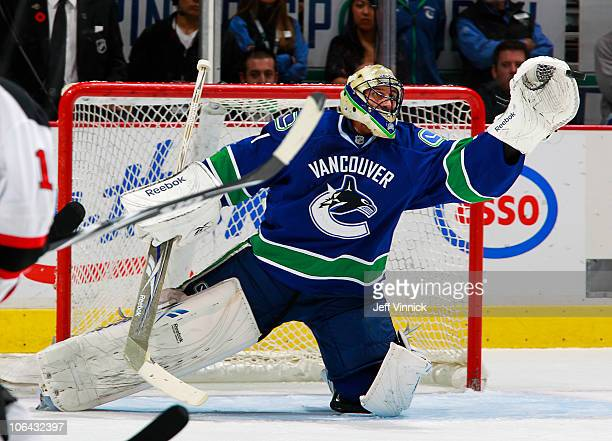 Roberto Luongo of the Vancouver Canucks makes a save during the game at Rogers Arena on November 1, 2010 in Vancouver, British Columbia, Canada.