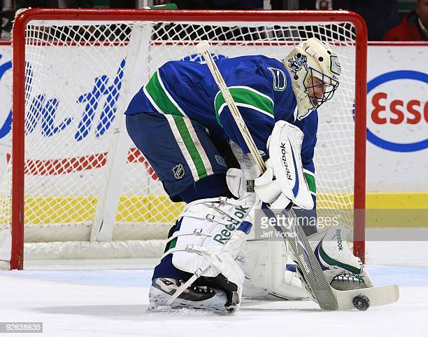 Roberto Luongo of the Vancouver Canucks makes a save during their game against the Edmonton Oilers at General Motors Place on October 25, 2009 in...