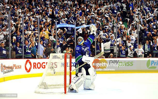 Roberto Luongo of the Vancouver Canucks reacts just before the horn to end Game Five of the 2011 NHL Stanley Cup Finals with a 10 shut out of the...