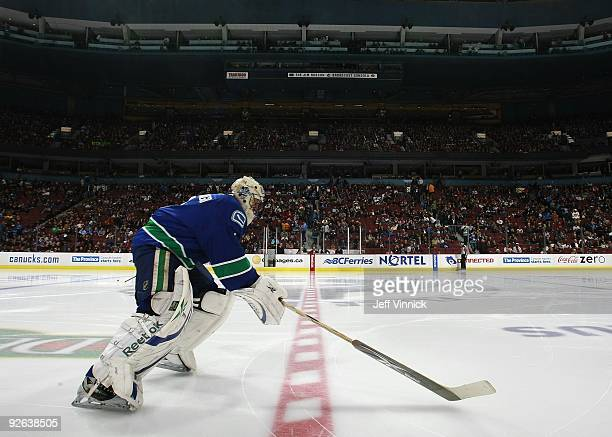 Roberto Luongo of the Vancouver Canucks skates onto the ice during their game against the Edmonton Oilers at General Motors Place on October 25, 2009...