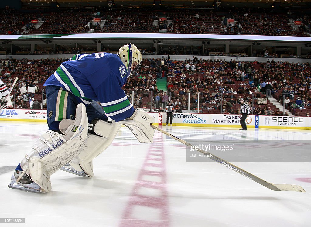 Roberto Luongo Of The Vancouver Canucks Skates To His Crease During