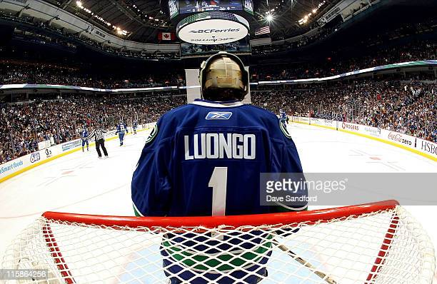 Roberto Luongo of the Vancouver Canucks stands in goal before playing the Boston Bruins in Game Five of the 2011 NHL Stanley Cup Finals at the Rogers...