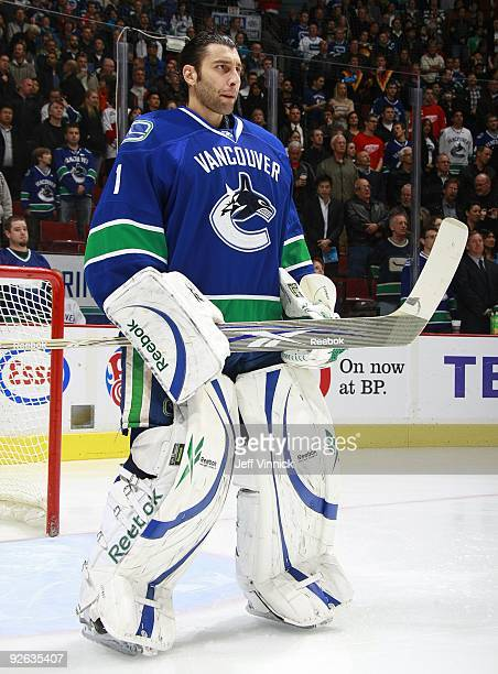 Roberto Luongo of the Vancouver Canucks stands in his crease during their game against the Detroit Red Wings at General Motors Place on October 27,...
