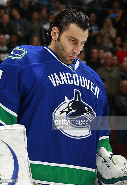 Roberto Luongo of the Vancouver Canucks stands in his crease during their game against the Detroit Red Wings at General Motors Place on October 27...
