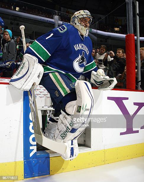 Roberto Luongo of the Vancouver Canucks steps onto the ice during their game against the Nashville Predators at General Motors Place on January 11,...