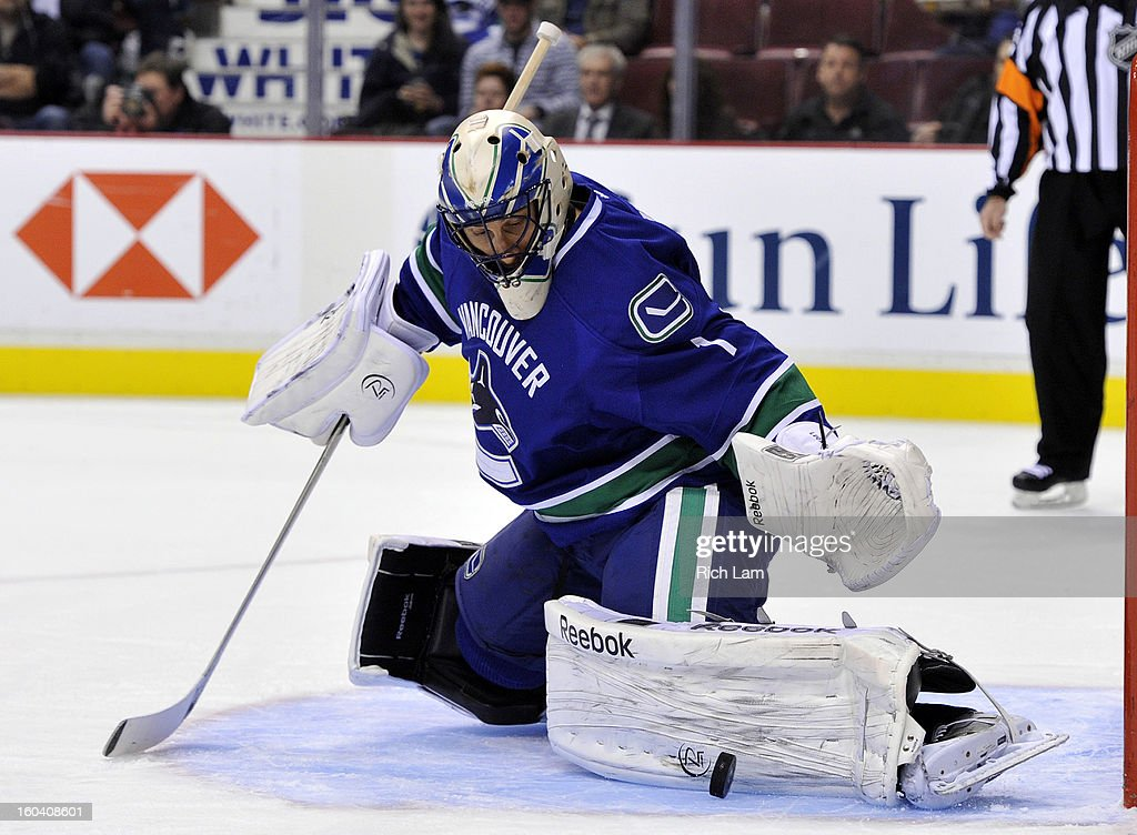 Roberto Luongo #1 of the Vancouver Canucks stretches out a pad to make a save against the Colorado Avalanche during the first period in NHL action on January 30, 2013 at Rogers Arena in Vancouver, British Columbia, Canada.