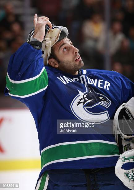 Roberto Luongo of the Vancouver Canucks watches a replay during their game against the Detroit Red Wings at General Motors Place on October 27, 2009...