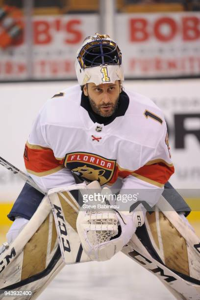Roberto Luongo the Florida Panthers warms up before the game against the Boston Bruins at the TD Garden on April 8 2018 in Boston Massachusetts...