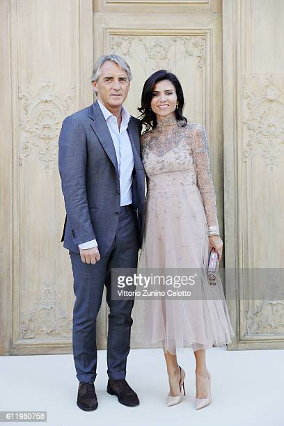 Roberto Mancini and Silvia Fortini attend the Valentino show as part of the Paris Fashion Week Womenswear Spring/Summer 2017 on October 2 2016 in...