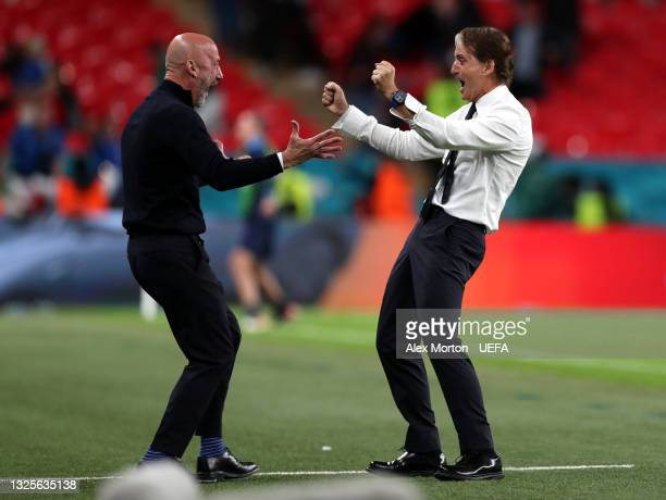 Roberto Mancini , Head Coach of Italy celebrates with Gianluca Vialli, Team coordinator of Italy after their side's second goal during the UEFA Euro...