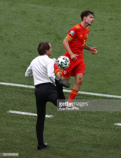 Roberto Mancini, Head Coach of Italy controls the ball during the UEFA Euro 2020 Championship Group A match between Italy and Wales at Olimpico...