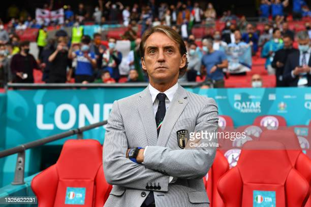 Roberto Mancini, Head Coach of Italy looks on prior to the UEFA Euro 2020 Championship Round of 16 match between Italy and Austria at Wembley Stadium...