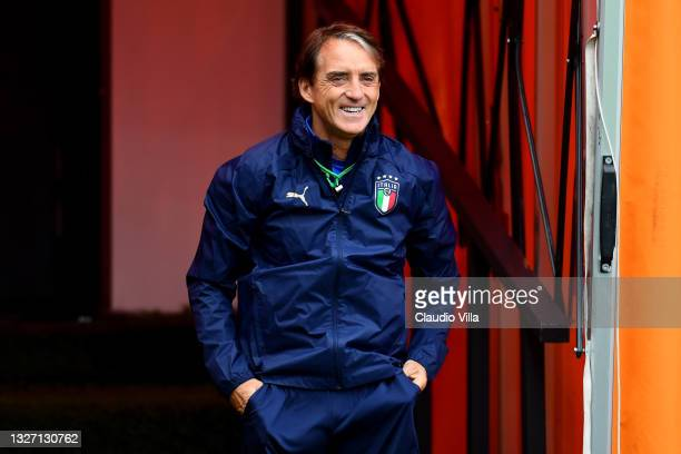 Roberto Mancini, Head Coach of Italy reacts during the Italy Training Session ahead of the Euro 2020 Semi-Final match between Italy and Spain at The...