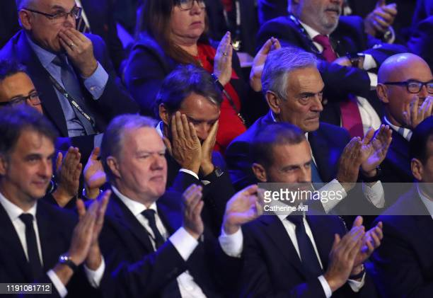 Roberto Mancini, Head Coach of Italy reacts during the UEFA Euro 2020 Final Draw Ceremony at the Romexpo on November 30, 2019 in Bucharest, Romania.