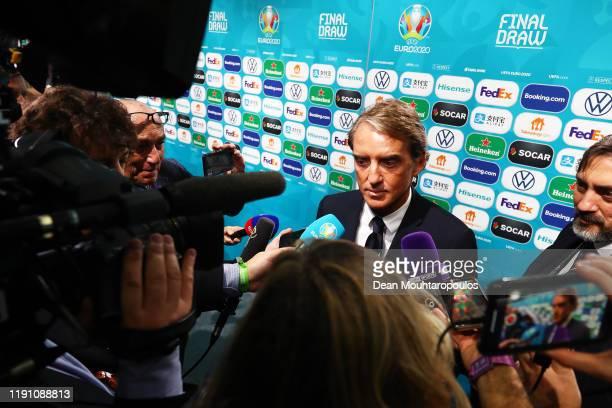 Roberto Mancini, Head Coach of Italy speaks to the media following the UEFA Euro 2020 Final Draw Ceremony at the Romexpo on November 30, 2019 in...