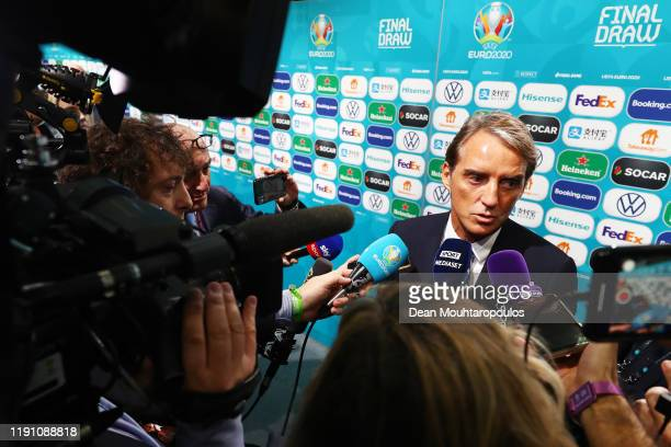 Roberto Mancini Head Coach of Italy speaks to the media following the UEFA Euro 2020 Final Draw Ceremony at the Romexpo on November 30 2019 in...