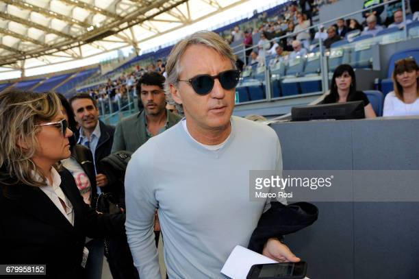 Roberto Mancini in the tribune before the Serie A match between SS Lazio and UC Sampdoria at Stadio Olimpico on May 7 2017 in Rome Italy