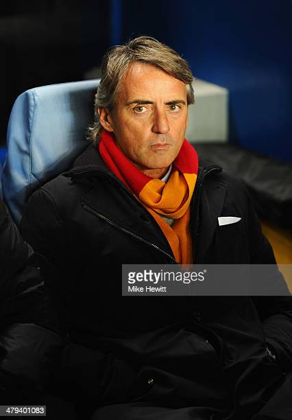 Roberto Mancini manager of Galatasaray looks on prior to the UEFA Champions League Round of 16 second leg match between Chelsea and Galatasaray AS at...