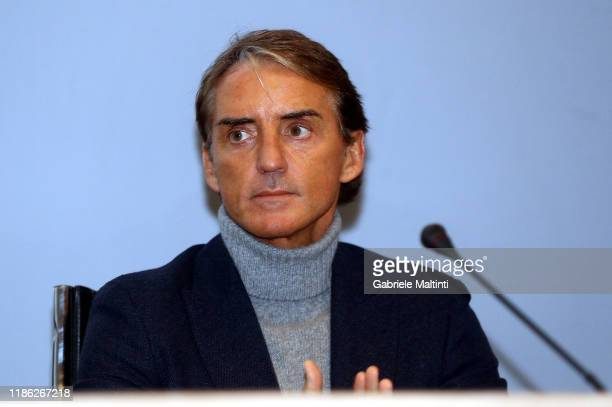 Roberto Mancini manager of Italy looks on at Centro Tecnico Federale di Coverciano on December 3, 2019 in Florence, Italy.