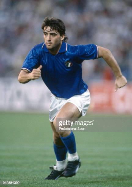 Roberto Mancini of Italy in action during a UEFA Euro 1988 match
