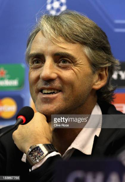 Roberto Mancini of Mancheter City speaks during a press conference prior to the Uefa Champions League Group A match between Napoli and Manchester...