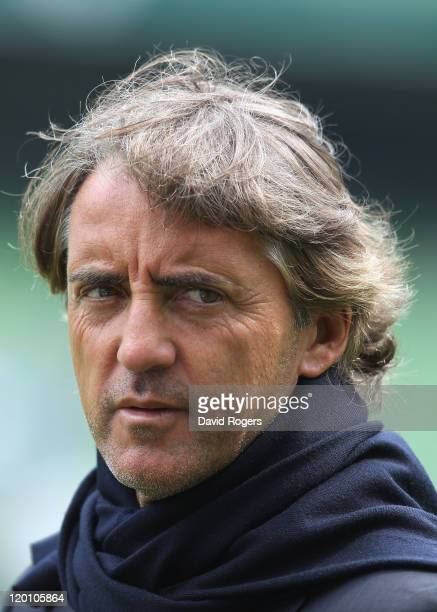 Roberto Mancini, the Manchester City manager looks on during the Dublin Super Cup match between Manchester City and Airtricity XI at Aviva Stadium on...
