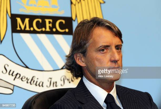 Roberto Mancini the new manager of Manchester City faces the media during a press conference held at the City of Manchester Stadium on December 21...