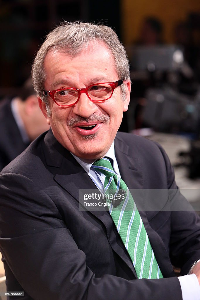 Roberto Maroni, Northern League Party Secretary, attends 'Ballaro' TV talk show on February 5, 2013 in Rome, Italy. National Elections in Italy are scheduled for February 24.