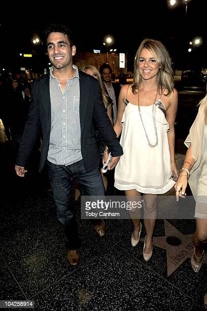 Roberto Martinez and Ali Fedotowsky arrive for her birthday celebration at Cleo on September 18 2010 in Hollywood California