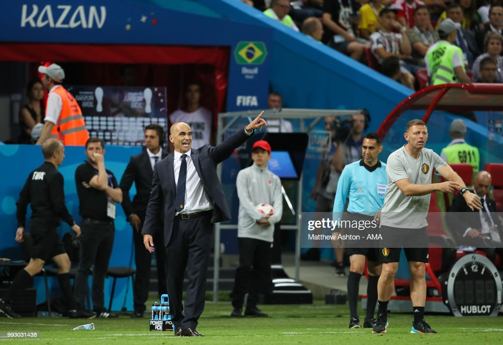 Roberto Martinez head coach / manager of Belgium reacts during the 2018 FIFA World Cup Russia Quarter Final match between Brazil and Belgium at Kazan Arena on July 6, 2018 in Kazan, Russia.