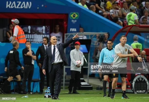 Roberto Martinez head coach / manager of Belgium reacts during the 2018 FIFA World Cup Russia Quarter Final match between Brazil and Belgium at Kazan...