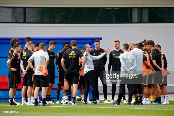 Roberto Martinez head coach of Belgian Team and team during a training session as part of the preparation prior to the FIFA 2018 World Cup Russia...
