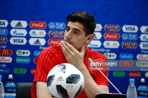 Roberto Martinez head coach of Belgian Team and Thibaut Courtois goalkeeper of Belgium during the press conference prior to the FIFA 2018 World Cup...