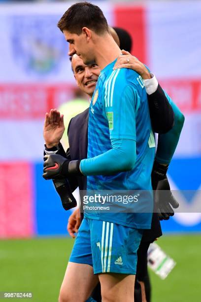 Roberto Martinez head coach of Belgian Team and Thibaut Courtois goalkeeper of Belgium pictured during the FIFA 2018 World Cup Russia Playoff for...