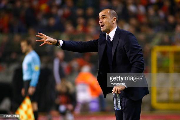 Roberto Martinez head coach of Belgian Team during the World Cup Qualifier Group H match between Belgium and Estonia at the King Baudouin Stadium on...