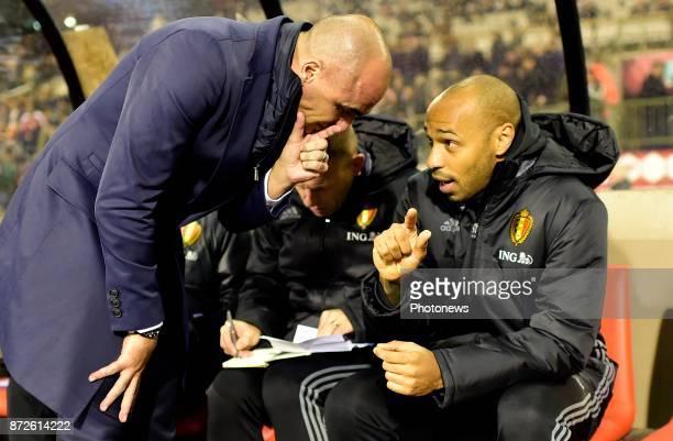Roberto Martinez head coach of Belgian Team talking to Thierry Henry ass. Coach of Belgian Team during a FIFA international friendly match between...