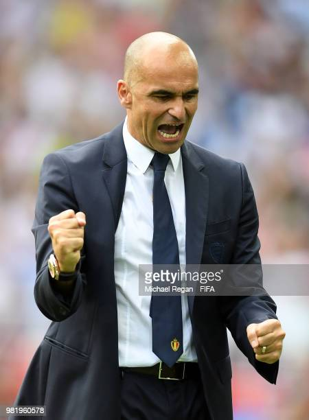Roberto Martinez, Head coach of Belgium celebrates after his team's third goal during the 2018 FIFA World Cup Russia group G match between Belgium...