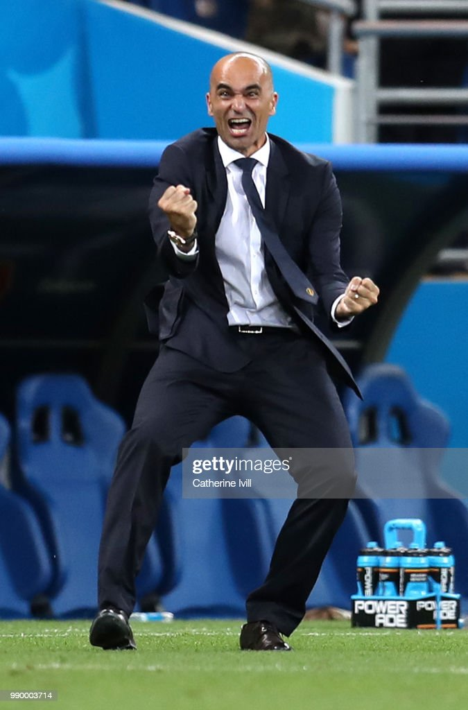 Roberto Martinez, Head coach of Belgium celebrates after his team's third goal during the 2018 FIFA World Cup Russia Round of 16 match between Belgium and Japan at Rostov Arena on July 2, 2018 in Rostov-on-Don, Russia.