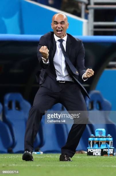Roberto Martinez, Head coach of Belgium celebrates after his team's third goal during the 2018 FIFA World Cup Russia Round of 16 match between...
