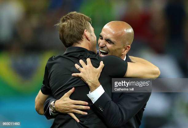 Roberto Martinez Head coach of Belgium celebrates following his sides victory in the 2018 FIFA World Cup Russia Quarter Final match between Brazil...