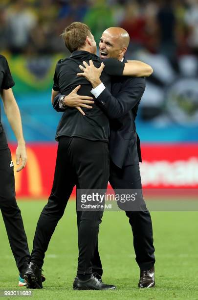Roberto Martinez, Head coach of Belgium celebrates following his sides victory in the 2018 FIFA World Cup Russia Quarter Final match between Brazil...