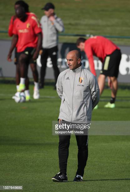"""Roberto Martinez, head coach of Belgium, during a training session of the Belgian national soccer team """" The Red Devils """" ahead of the upcoming FIFA..."""