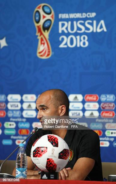 Axel Witsel of Belgium speaks during a Belgium press conference during the 2018 FIFA World Cup on July 13 2018 in Saint Petersburg Russia
