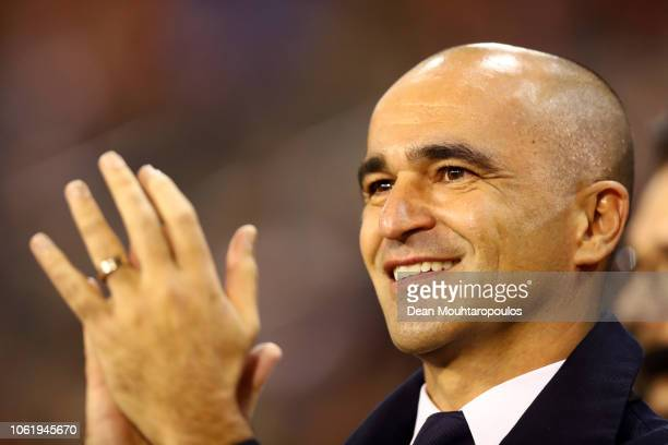 Roberto Martinez, Manager of Belgium acknowledges the fans prior to the UEFA Nations League A group two match between Belgium and Iceland at King...