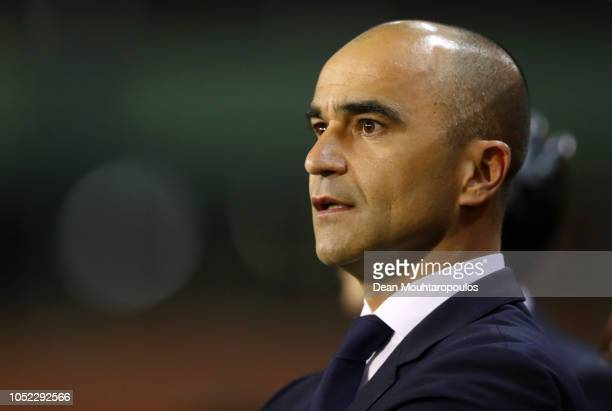 Roberto Martinez, Manager of Belgium looks on prior to the International Friendly match between Belgium and Netherlands at King Baudouin Stadium on...