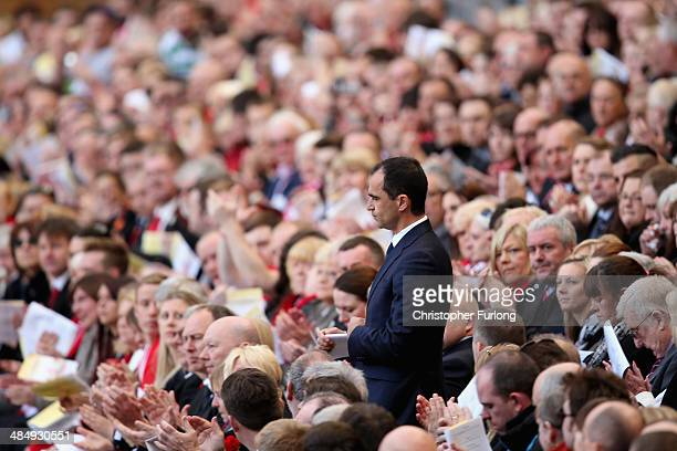 Roberto Martinez, manager of Everton, attends the memorial service marking the 25th anniversary of the Hillsborough Disaster, at Anfield stadium on...