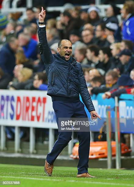 Roberto Martinez manager of Everton celebrates as Tom Cleverley scores their first goal during the Barclays Premier League match between Newcastle...