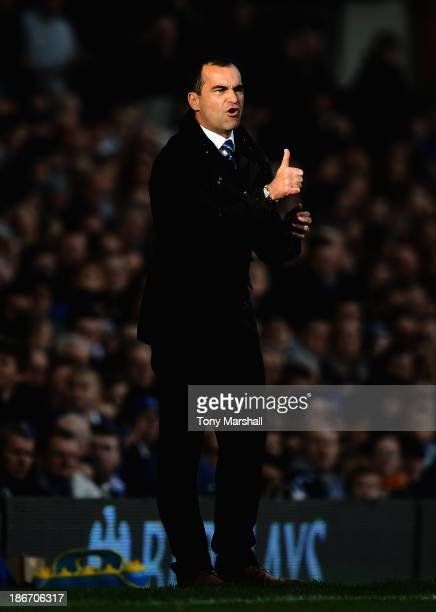 Roberto Martinez, manager of Everton on the touch line during the Barclays Premier League match between Everton and Tottenham Hotspur at Goodison...